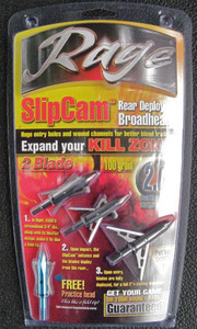Rage Slipcam Rear Deploying Broadheads 3 Blade 100 Grain