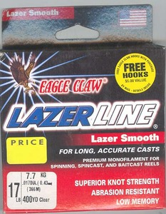 Eagle Claw Lazor Line( 17 lb Clear 400 Yds )
